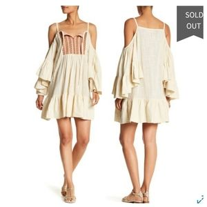 MACBETH COLLECTION Cold Shoulder Ruffle Dress NWT